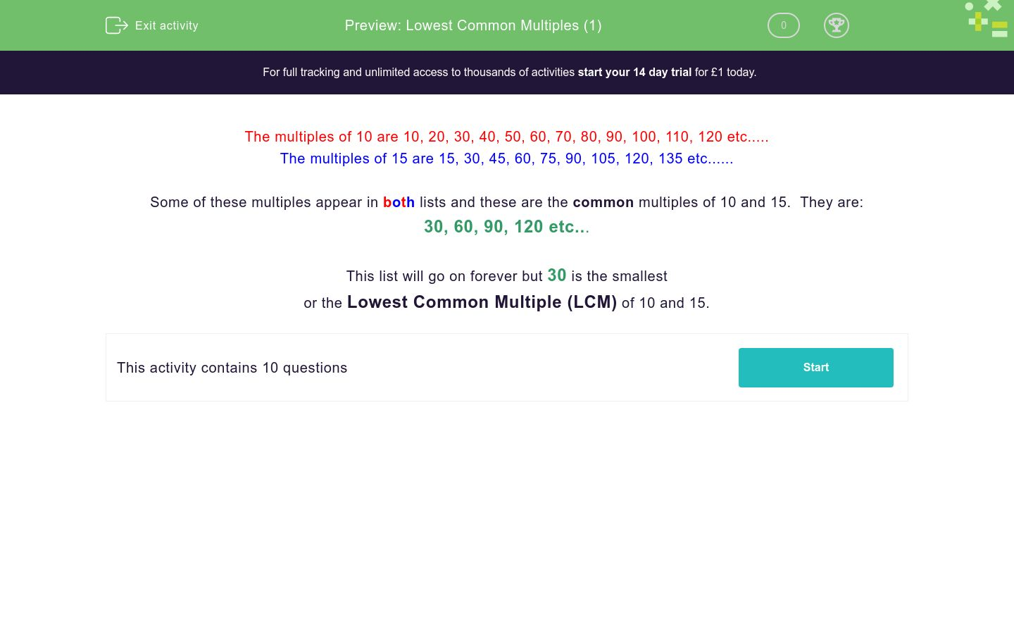 'Lowest Common Multiples (1)' worksheet