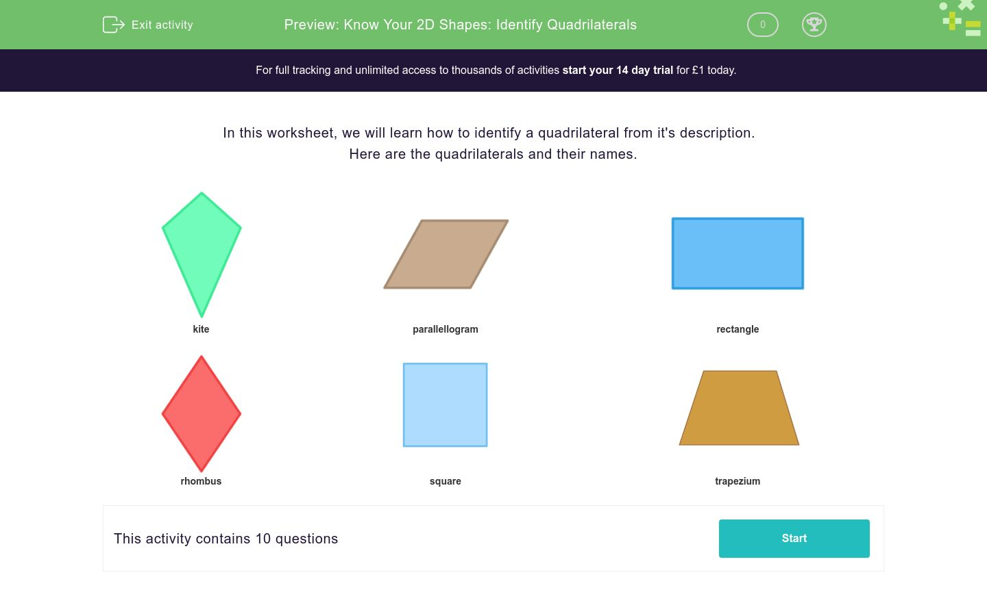 'Know Your 2D Shapes: Identify Quadrilaterals' worksheet
