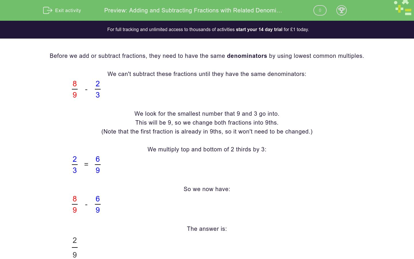 'Adding and Subtracting Fractions with Related Denominators' worksheet