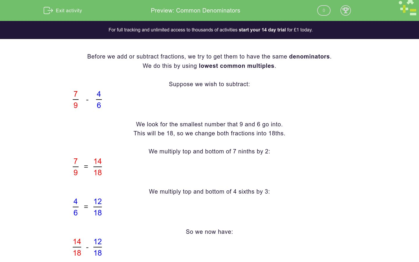 'Common Denominators' worksheet