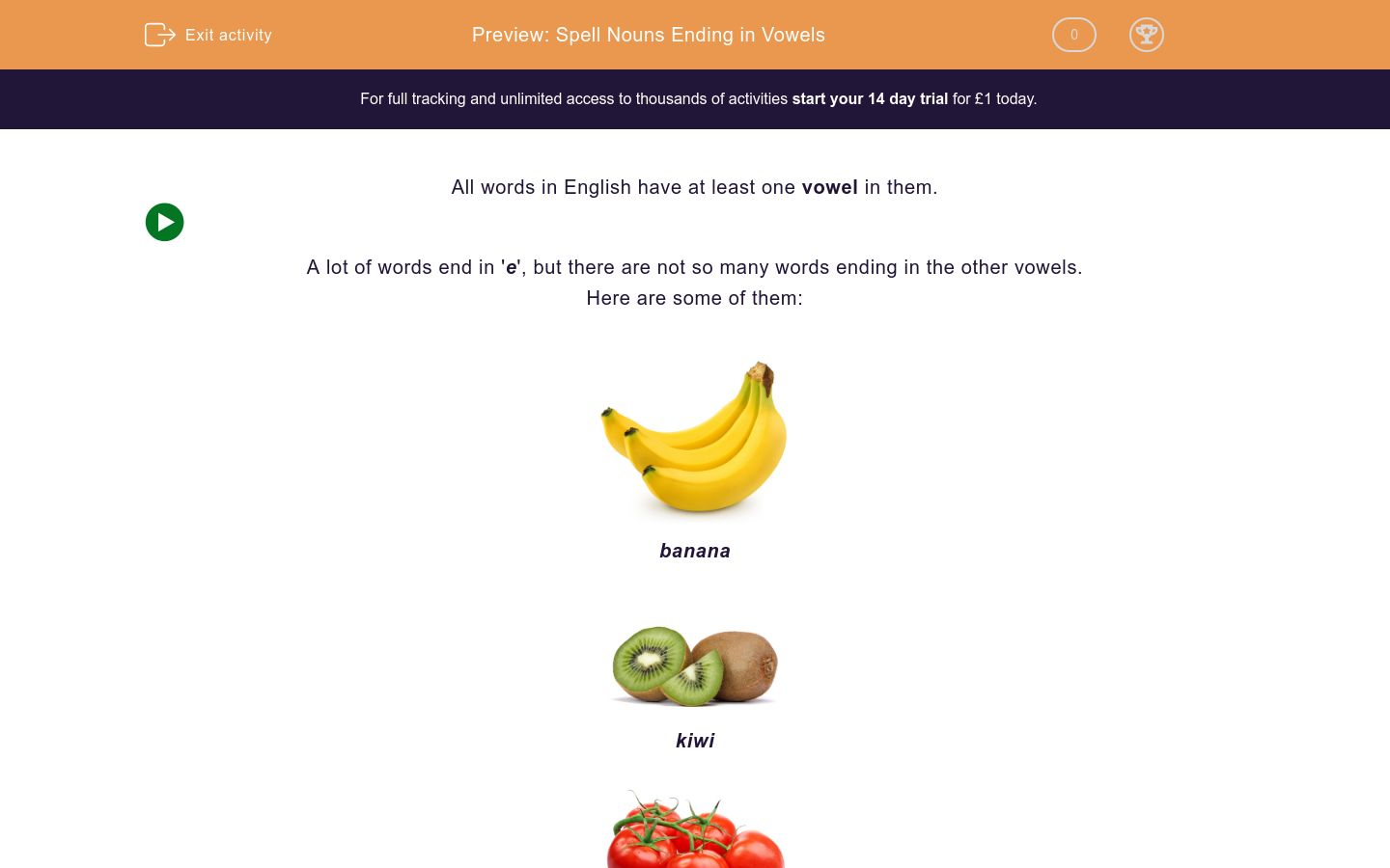 'Spell Nouns Ending in Vowels' worksheet