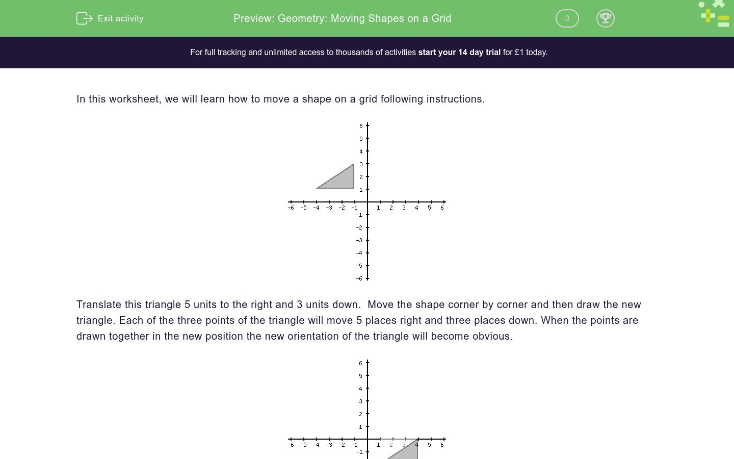 geometry moving shapes on a grid worksheet edplace