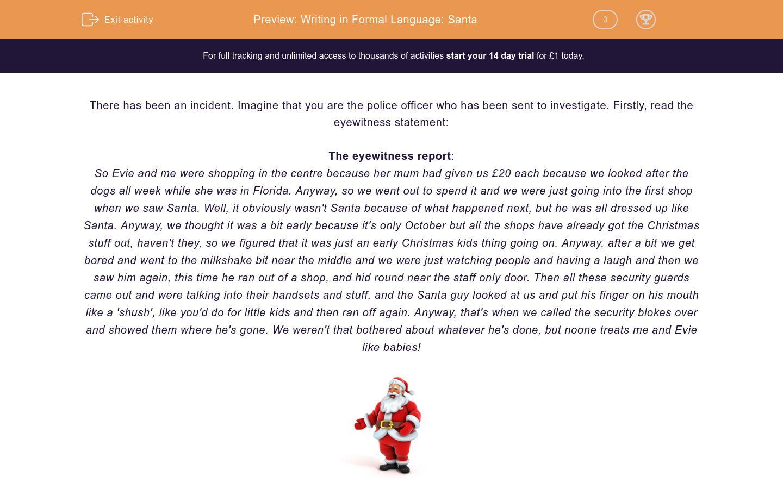 'Writing in Formal Language: Santa' worksheet
