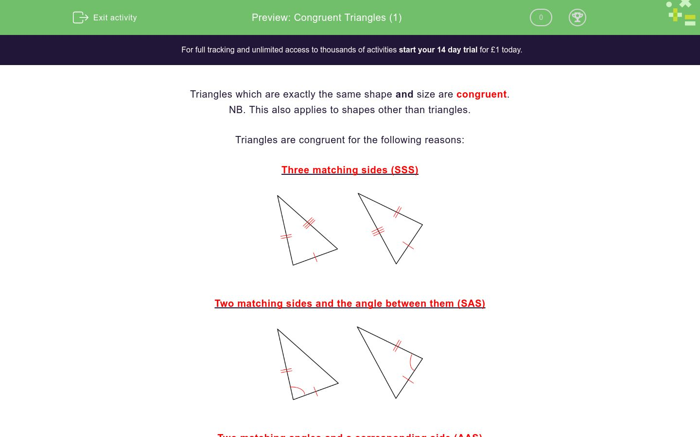 'Identify Congruent Triangles ' worksheet