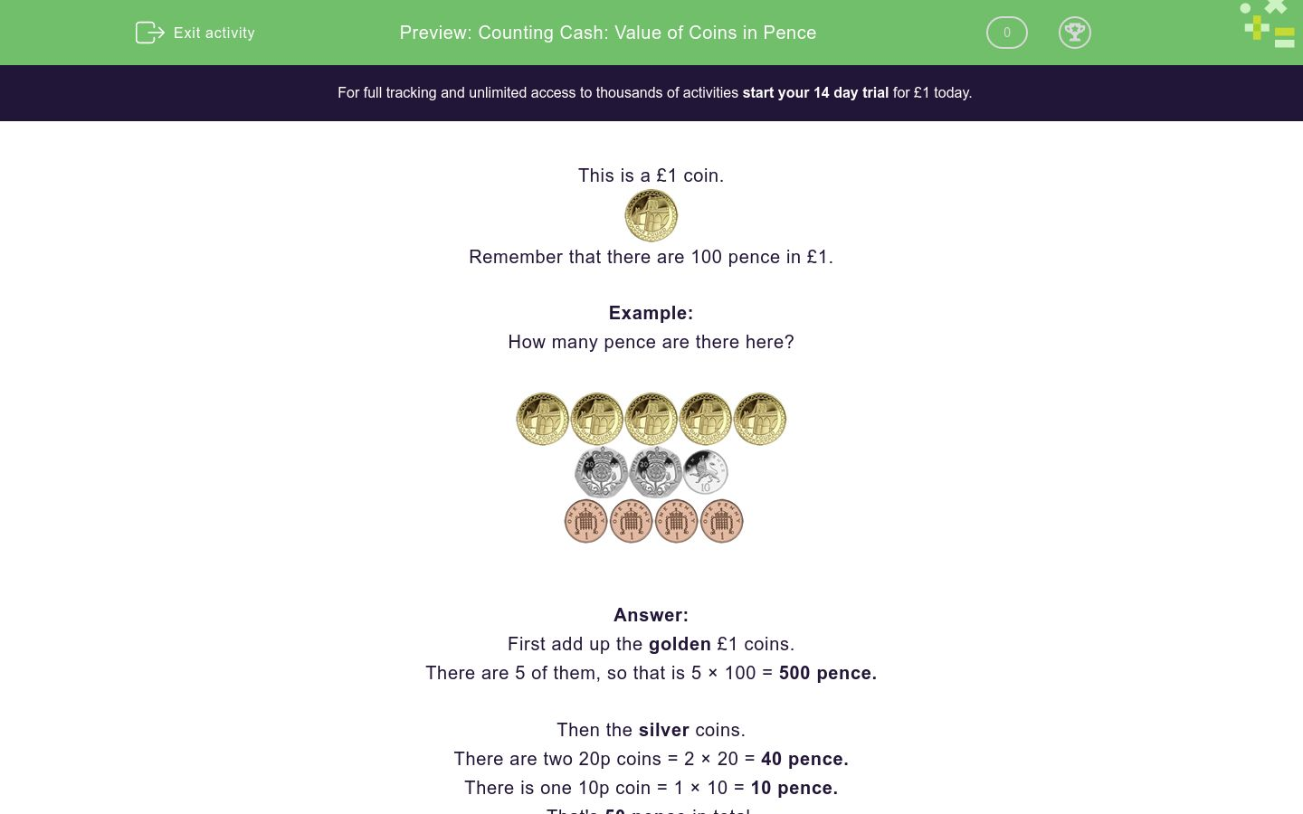 'Counting Cash: Value of Coins in Pence' worksheet