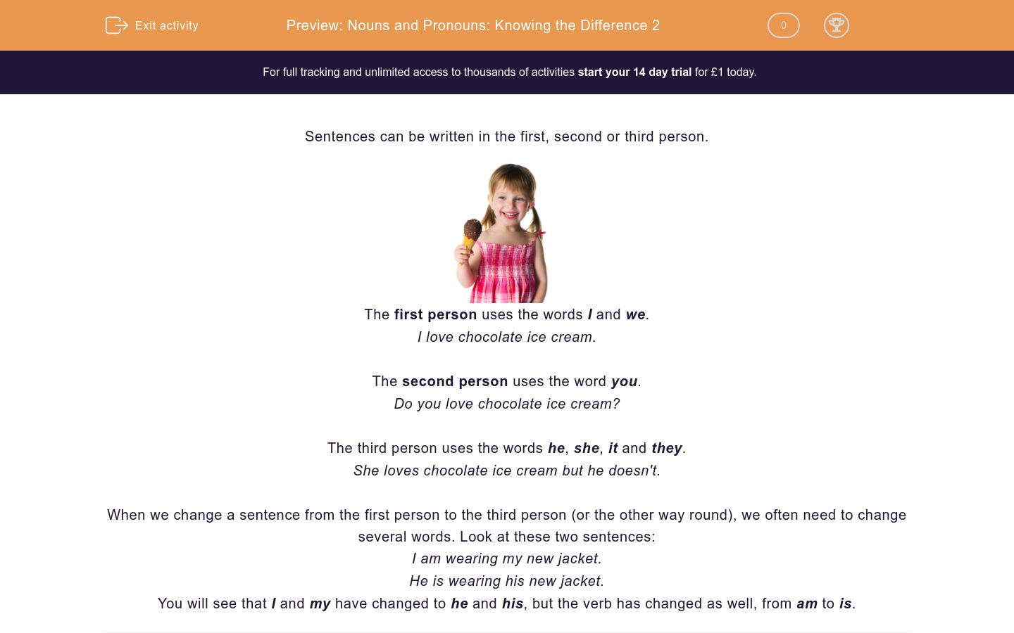 'Nouns and Pronouns: Knowing the Difference 2' worksheet
