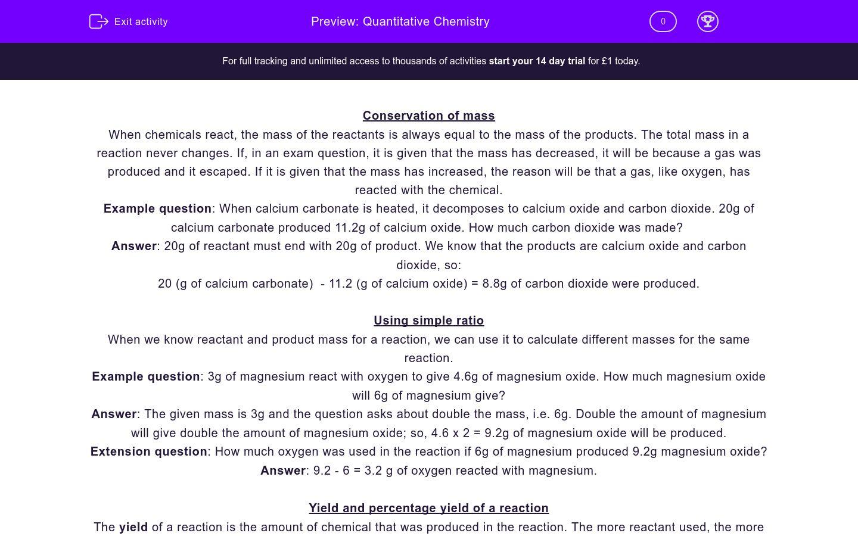 'Quantitative Chemistry' worksheet