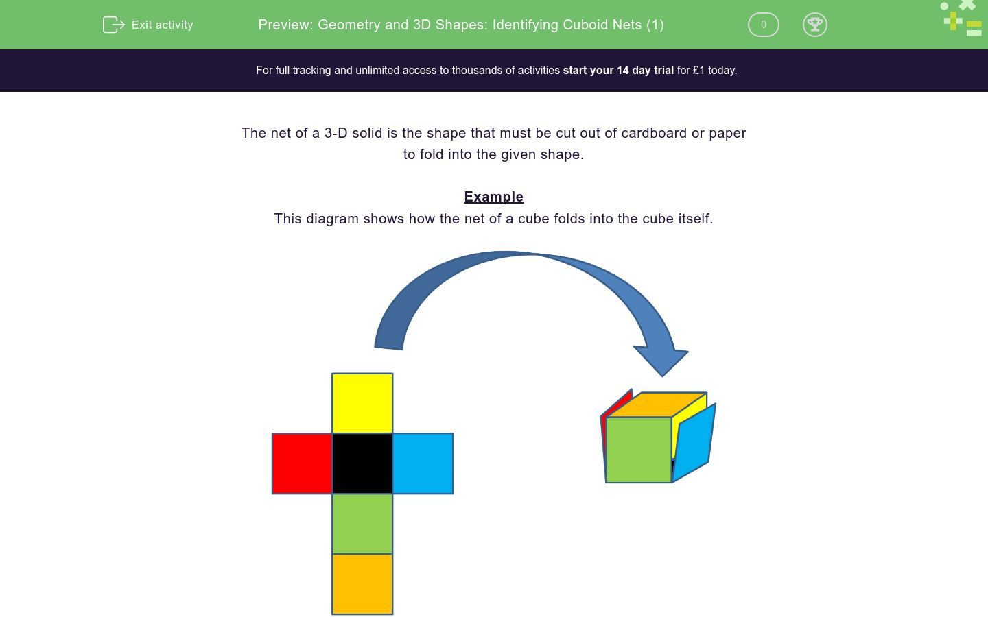 'Geometry and 3D Shapes: Identifying Cuboid Nets (1)' worksheet