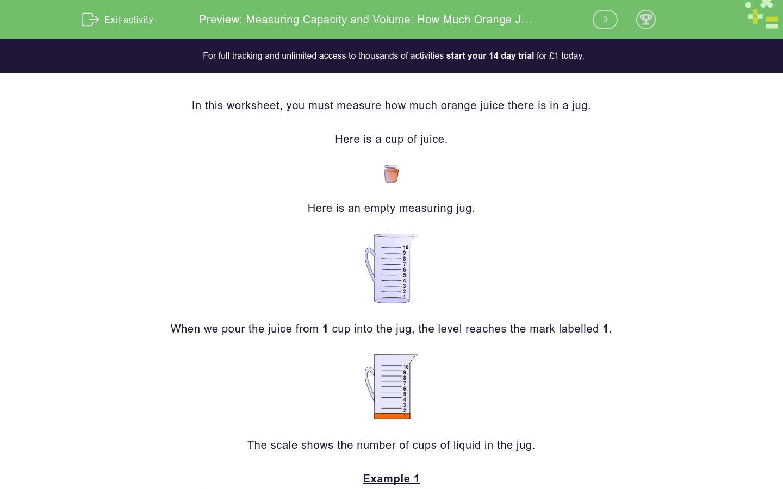 'Measuring Capacity and Volume: How Much Orange Juice?' worksheet