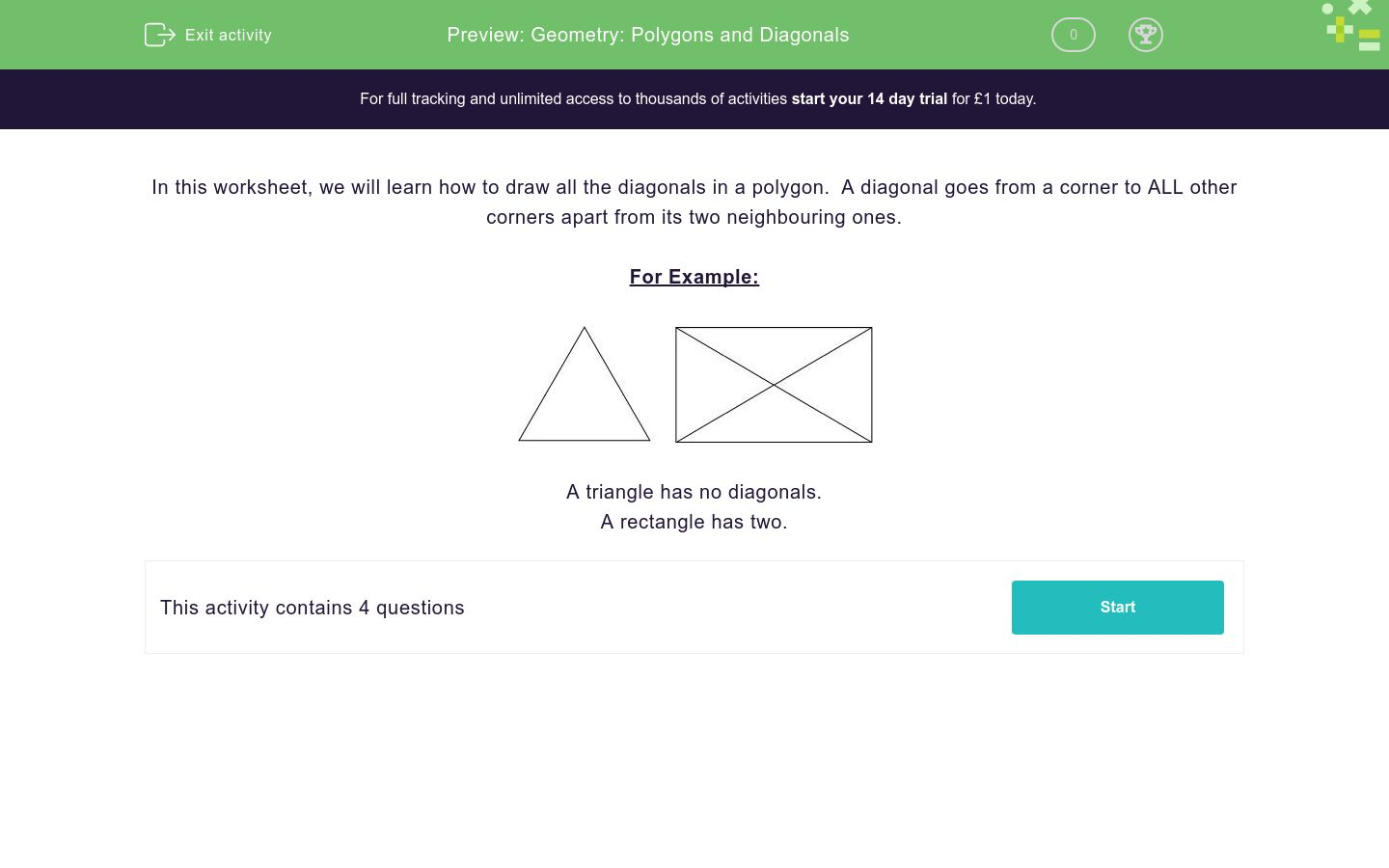 'Geometry: Polygons and Diagonals' worksheet