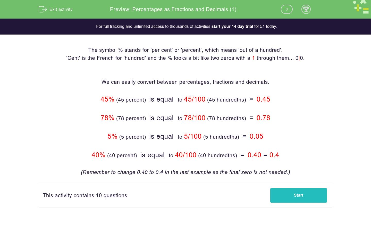 'Percentages as Fractions and Decimals (1)' worksheet