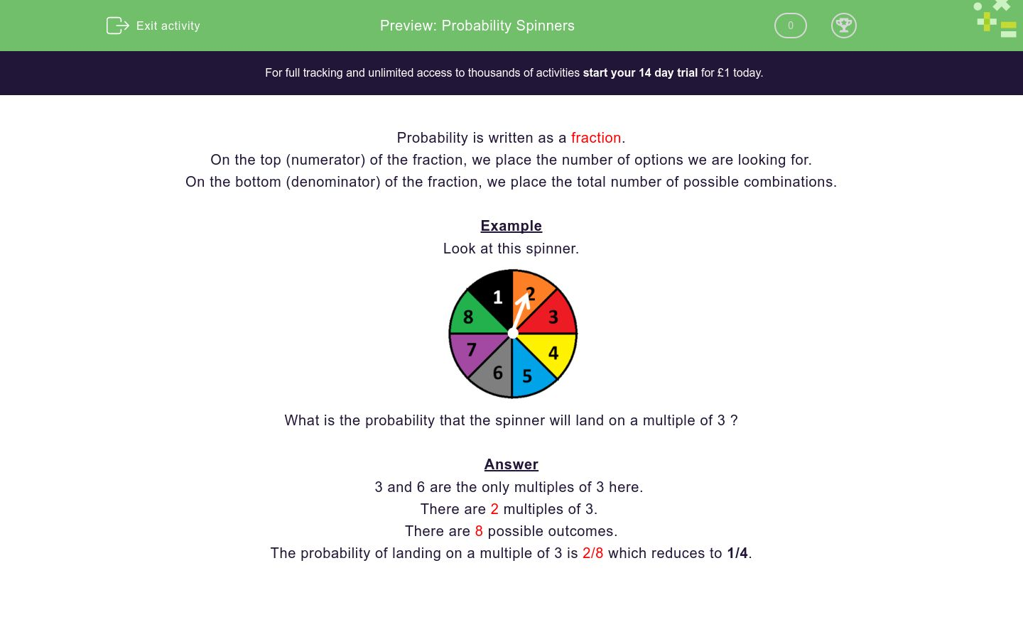 'Probability Spinners' worksheet