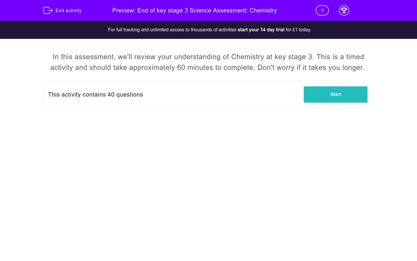 'End of key stage 3 Science Assessment: Chemistry' worksheet