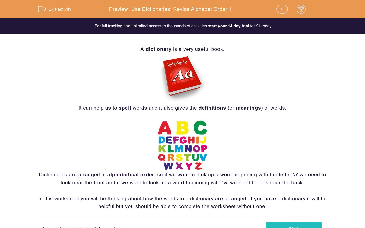 'Use Dictionaries: Revise Alphabet Order 1' worksheet