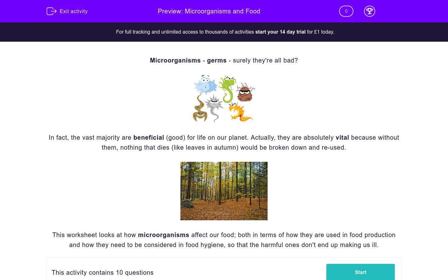 'Microorganisms and Food' worksheet
