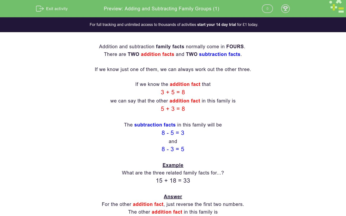 'Adding and Subtracting Family Groups (1)' worksheet