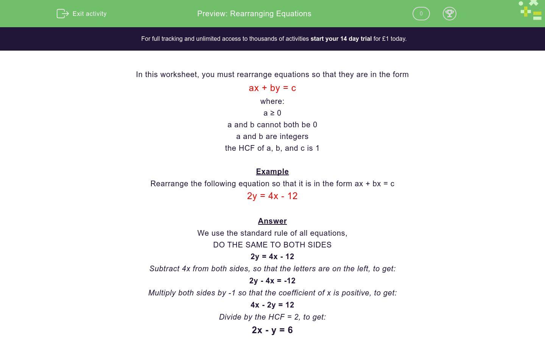 'Rearranging Equations' worksheet