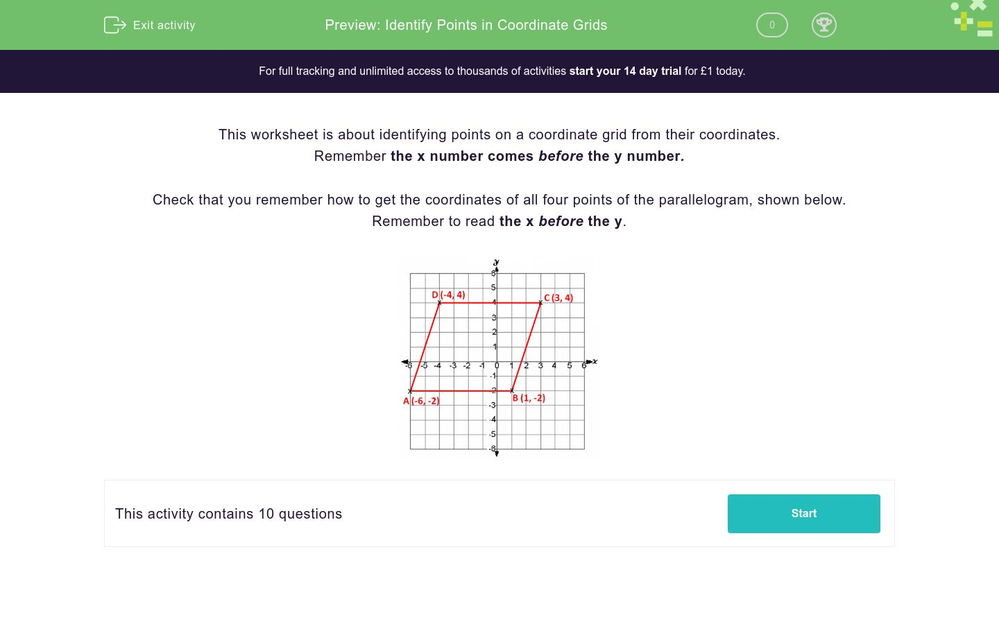 'Identify Points in Coordinate Grids' worksheet