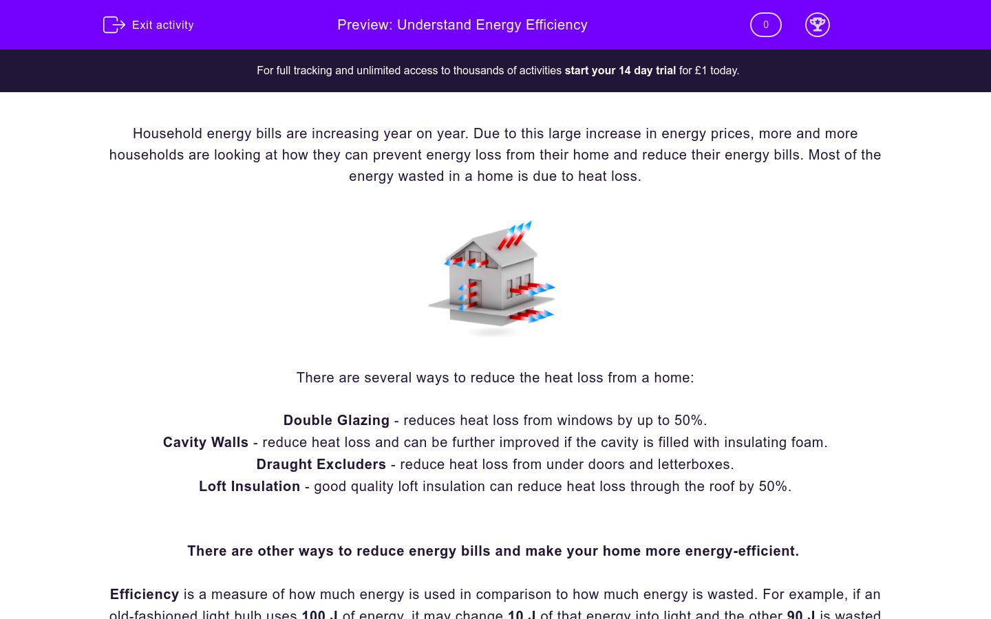 'Understand Energy Efficiency' worksheet