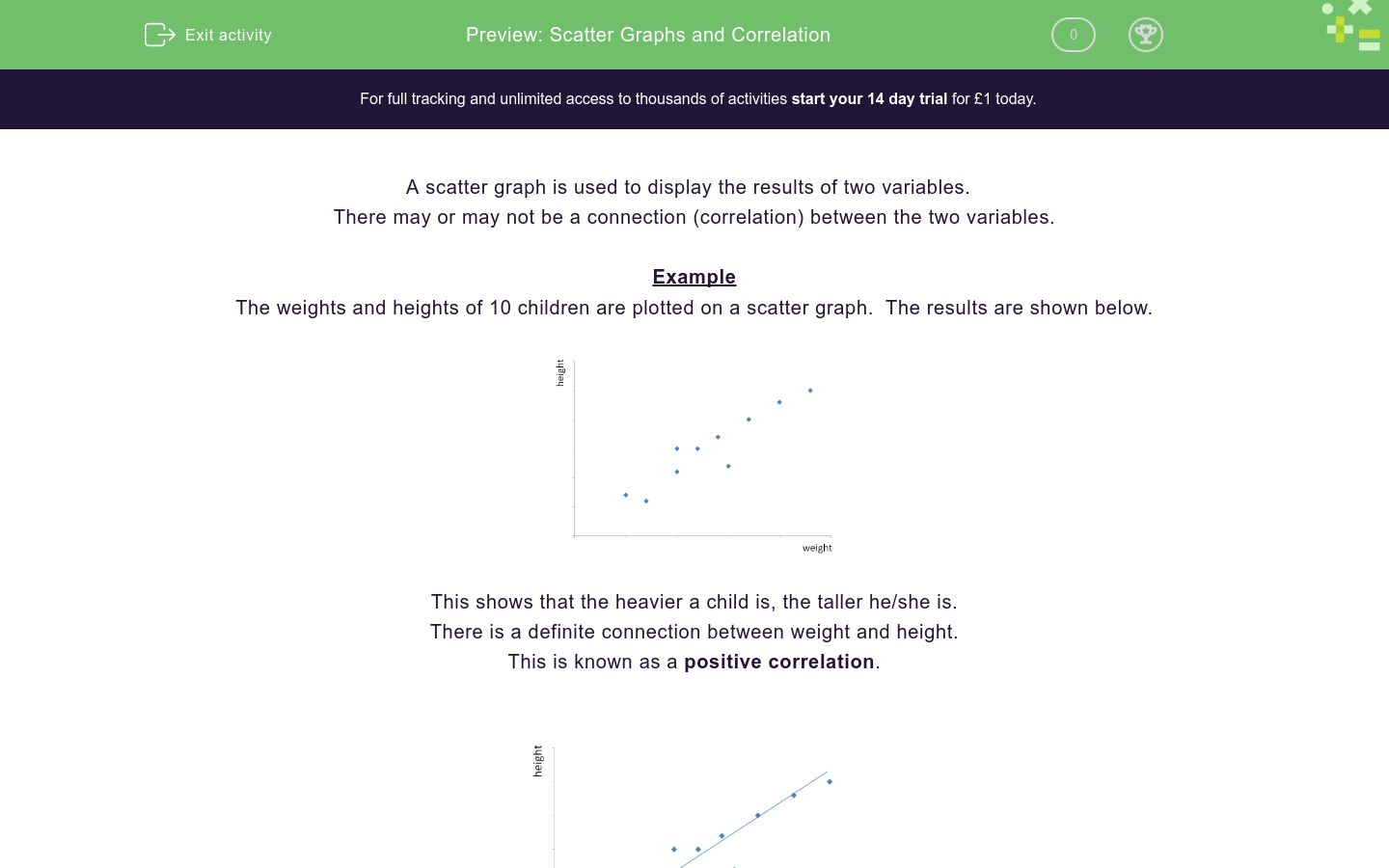 'Scatter Graphs and Correlation' worksheet