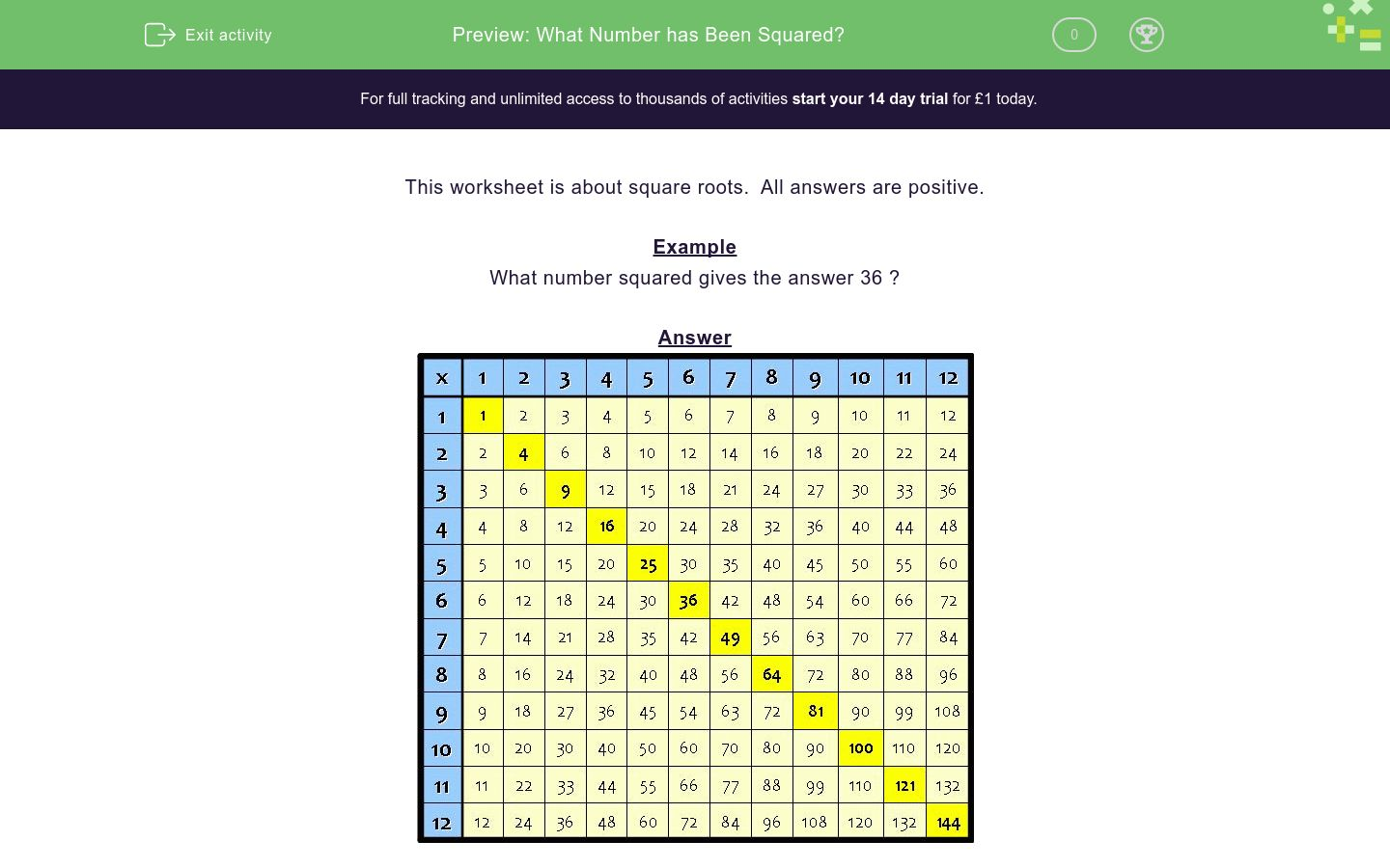'What Number has Been Squared?' worksheet