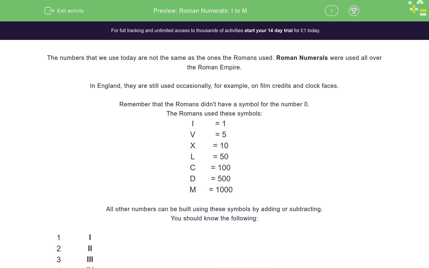 'Roman Numerals: I to M' worksheet