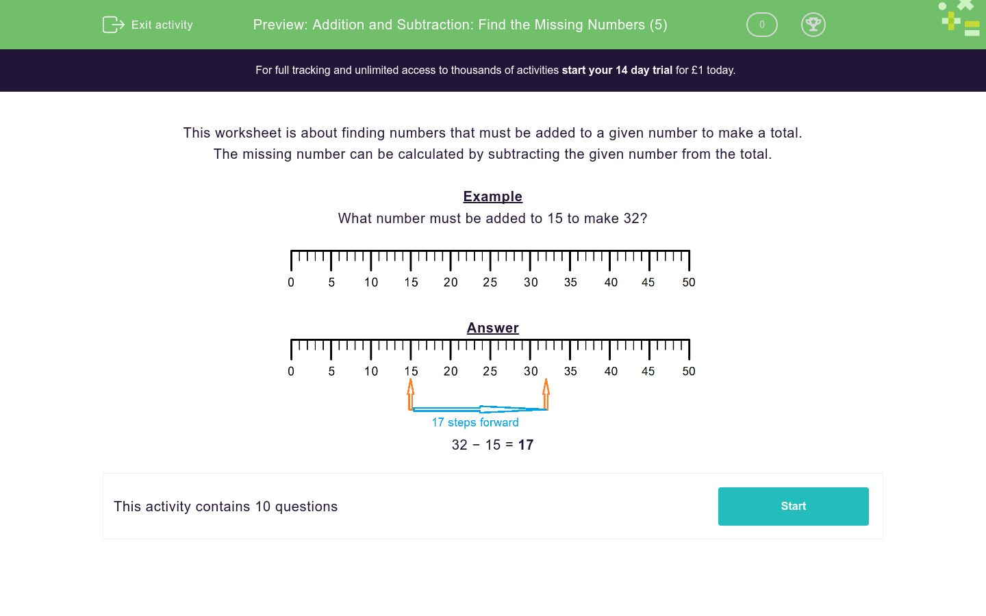 'Addition and Subtraction: Find the Missing Numbers (5)' worksheet