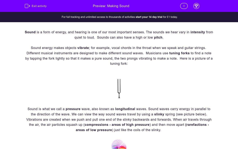 'Making Sound' worksheet