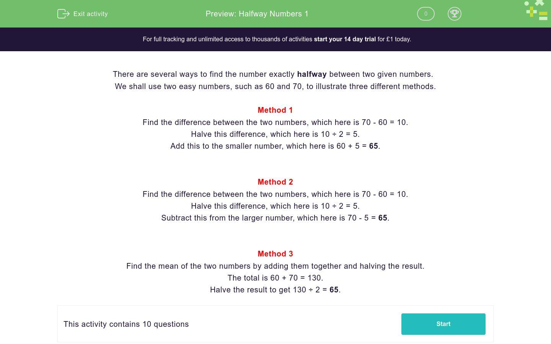 'Halfway Numbers 1' worksheet