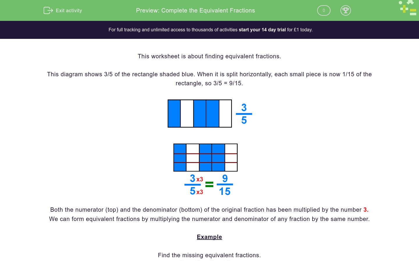 Complete The Equivalent Fractions Worksheet Edplace