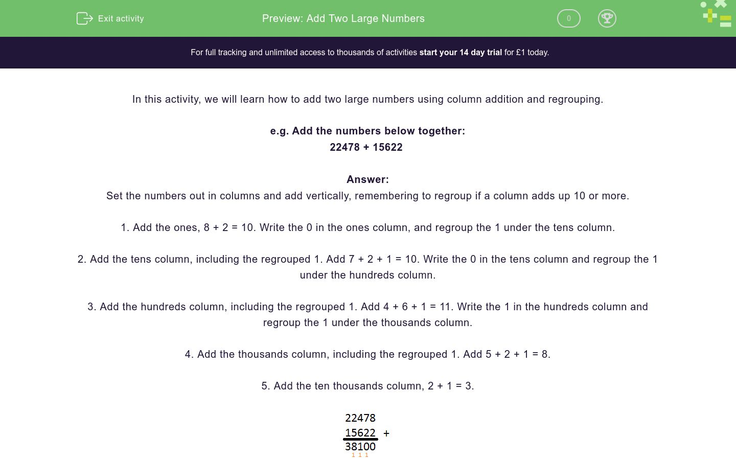 'Add Two Large Numbers' worksheet
