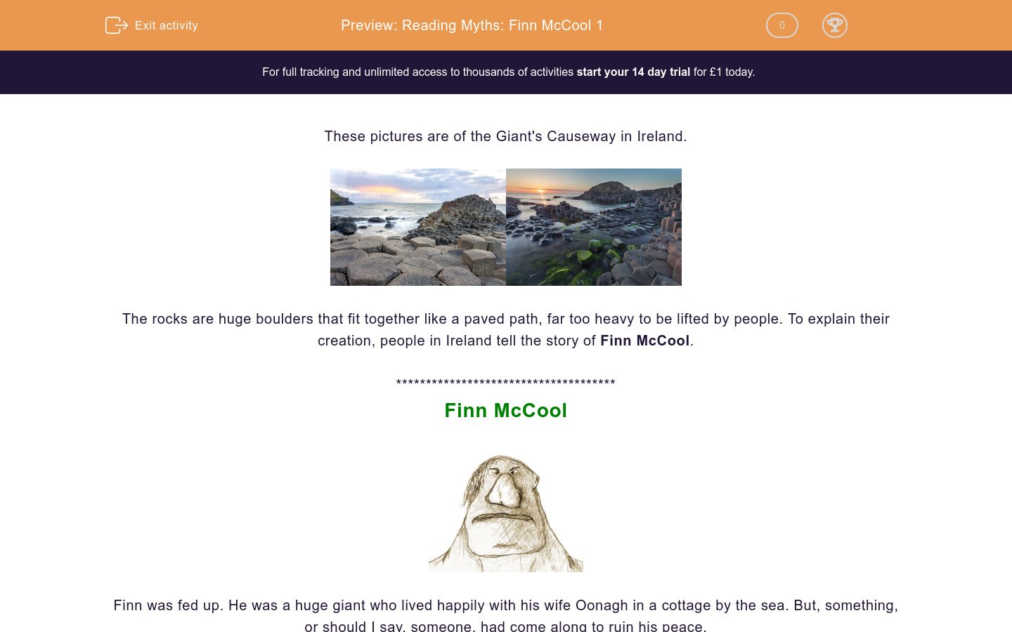 'Reading Myths: Finn McCool 1' worksheet