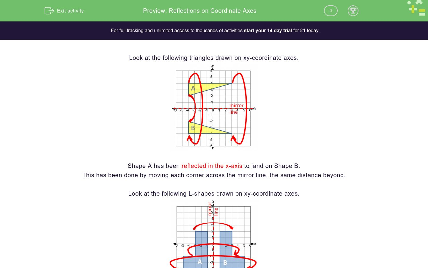 Reflections On Coordinate Axes Worksheet Edplace