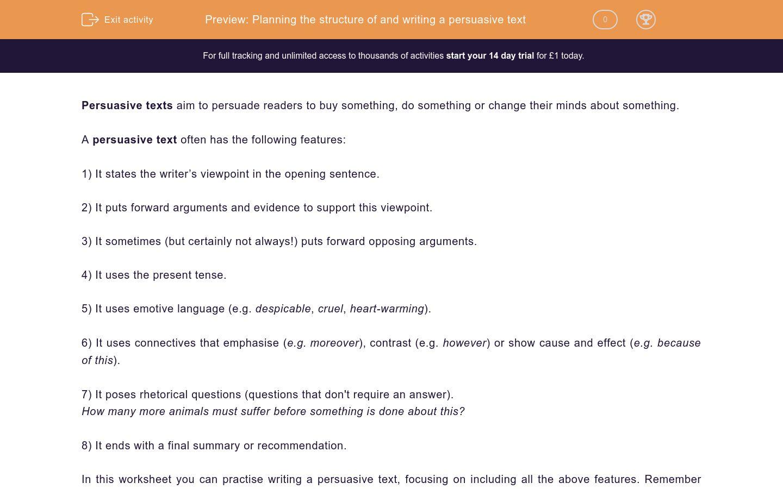 'Write a Persuasive Text' worksheet
