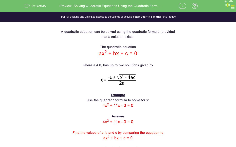 Solving Quadratic Equations Using The Quadratic Formula 1
