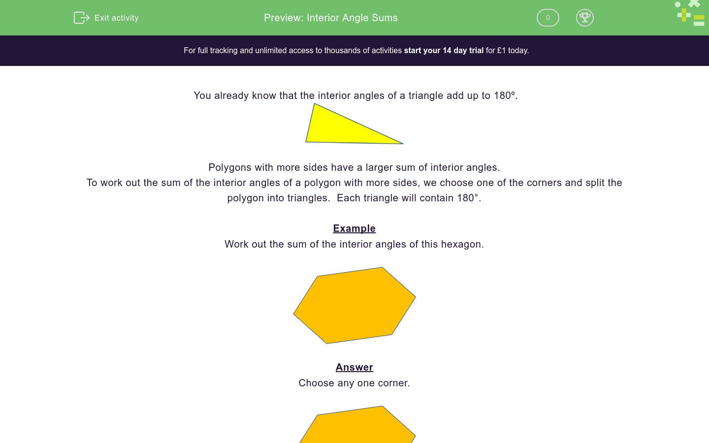 'Interior Angle Sums' worksheet