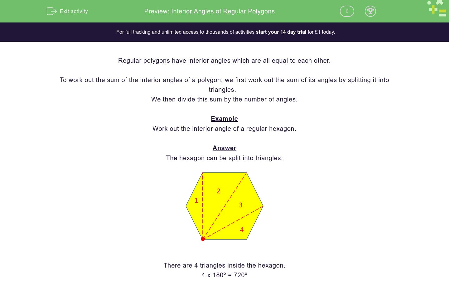 'Interior Angles of Regular Polygons' worksheet