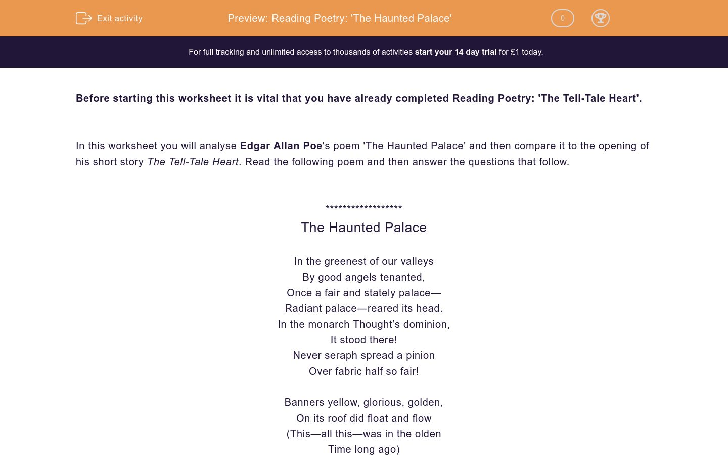 reading poetry 39 the haunted palace 39 worksheet edplace. Black Bedroom Furniture Sets. Home Design Ideas