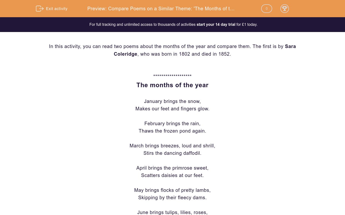 'Compare Poems on a Similar Theme: 'The Months of the Year' and 'Months'' worksheet