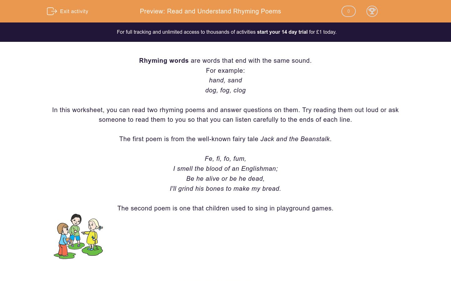 'Read and Understand Rhyming Poems' worksheet