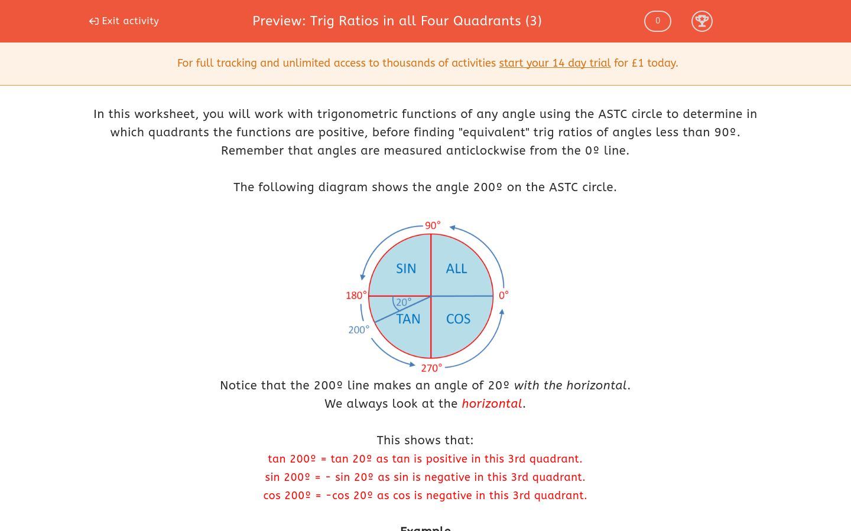Trig Ratios In All Four Quadrants 3 Worksheet Edplace