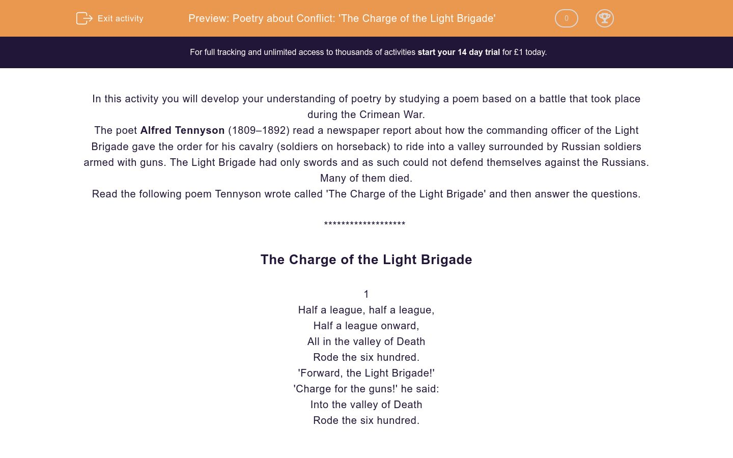 'Poetry about Conflict: 'The Charge of the Light Brigade'' worksheet