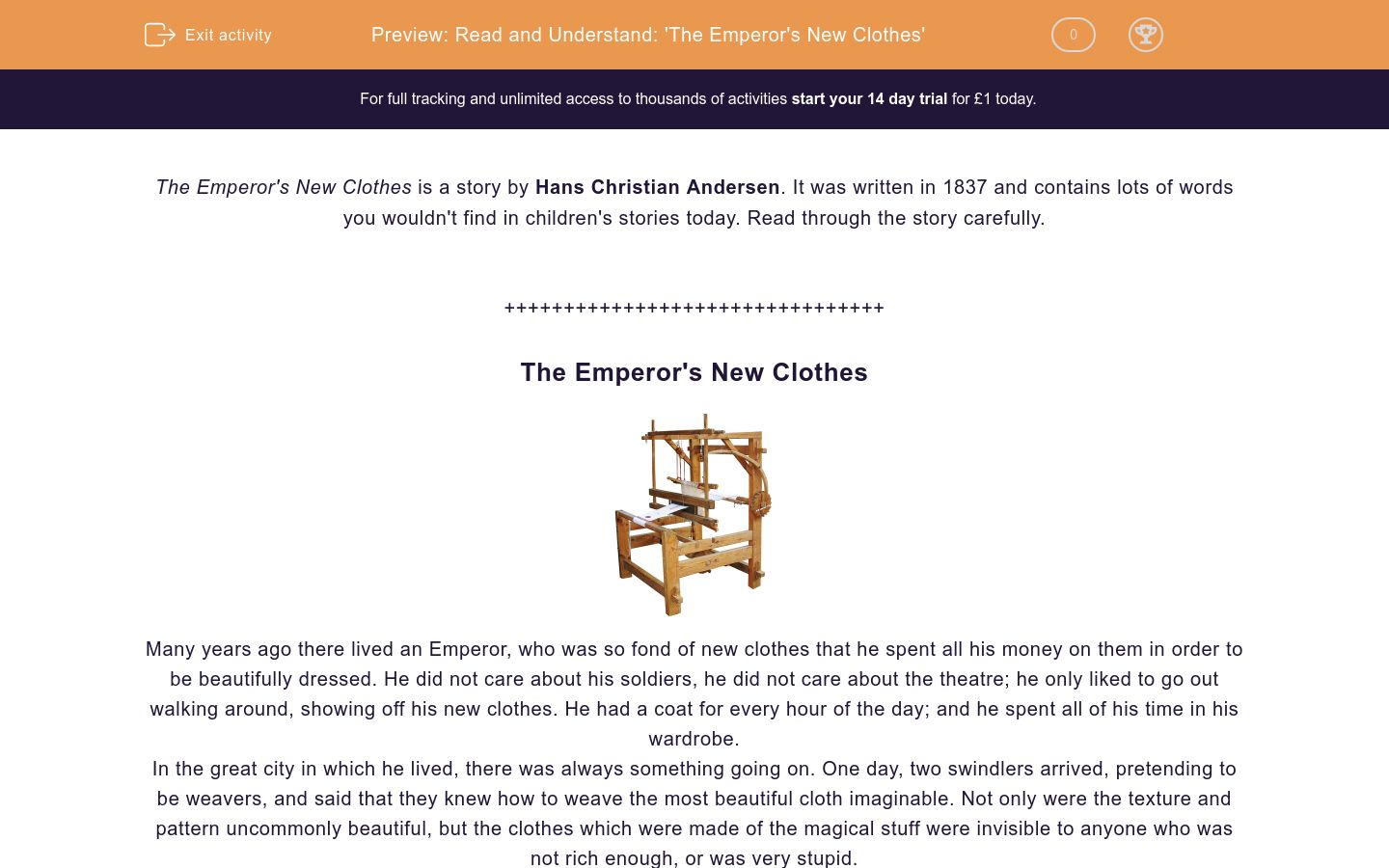 'Read and Understand: 'The Emperor's New Clothes'' worksheet
