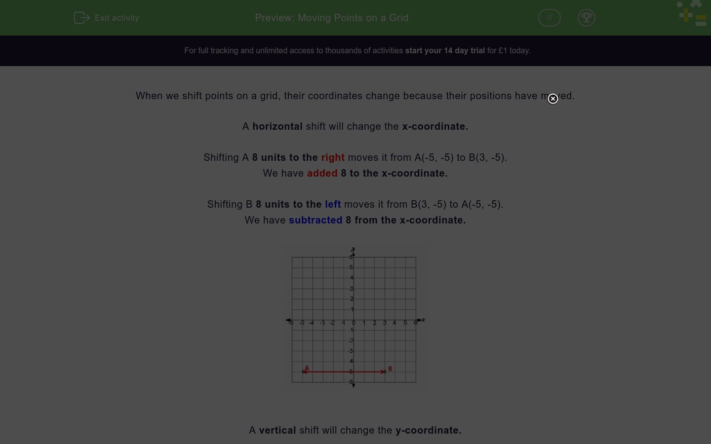 moving points on a grid worksheet edplace