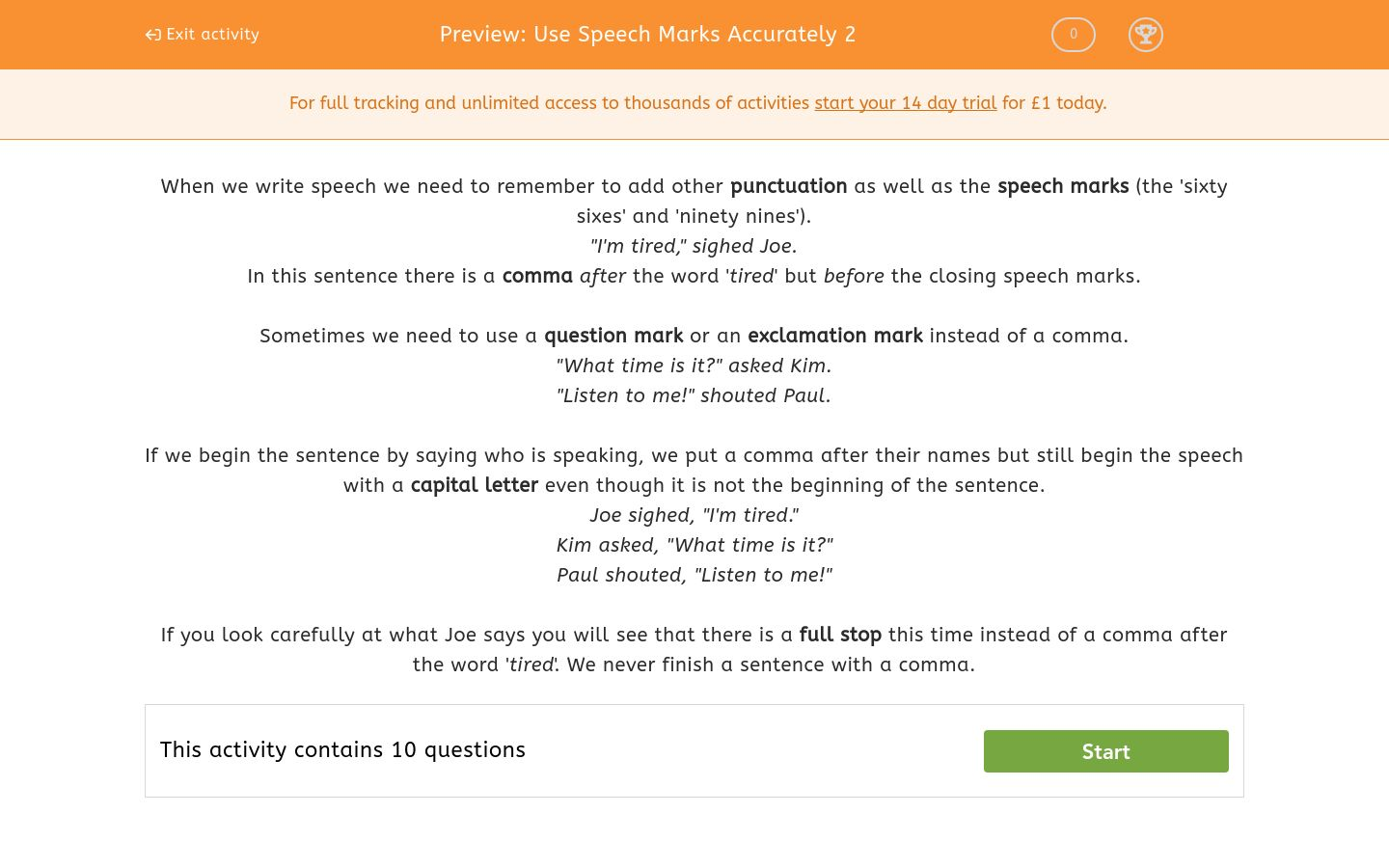 Use Speech Marks Accurately 2 Worksheet Edplace