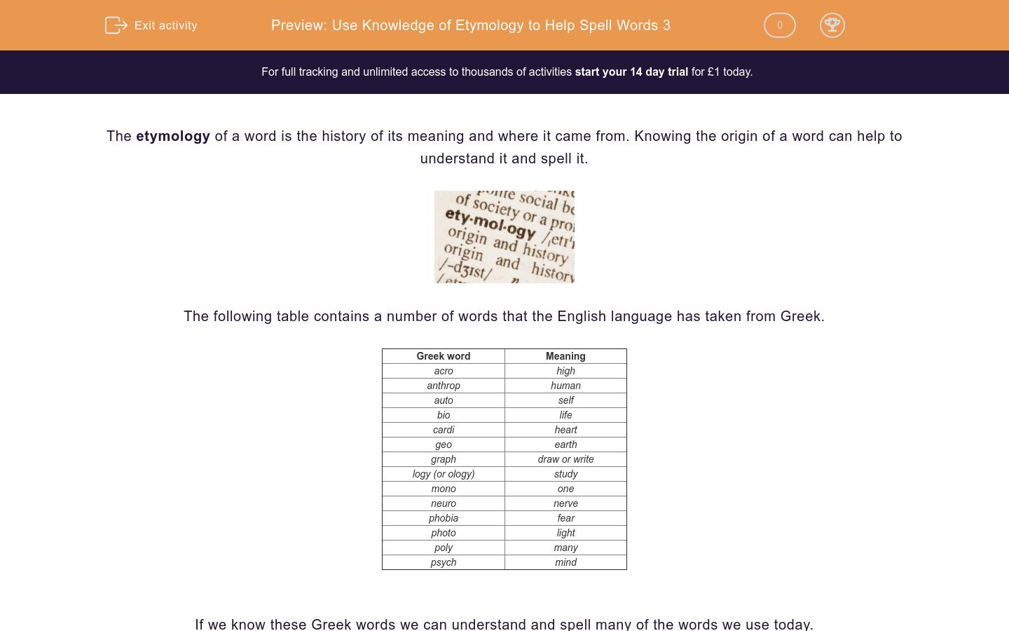 'Use Knowledge of Etymology to Help Spell Words 3' worksheet