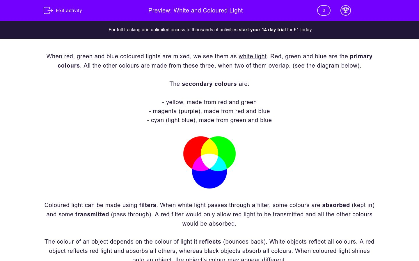 'White and Coloured Light' worksheet