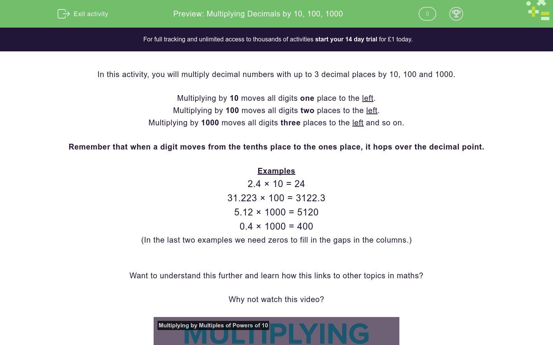 'Multiplying Decimals by 10, 100, 1000' worksheet