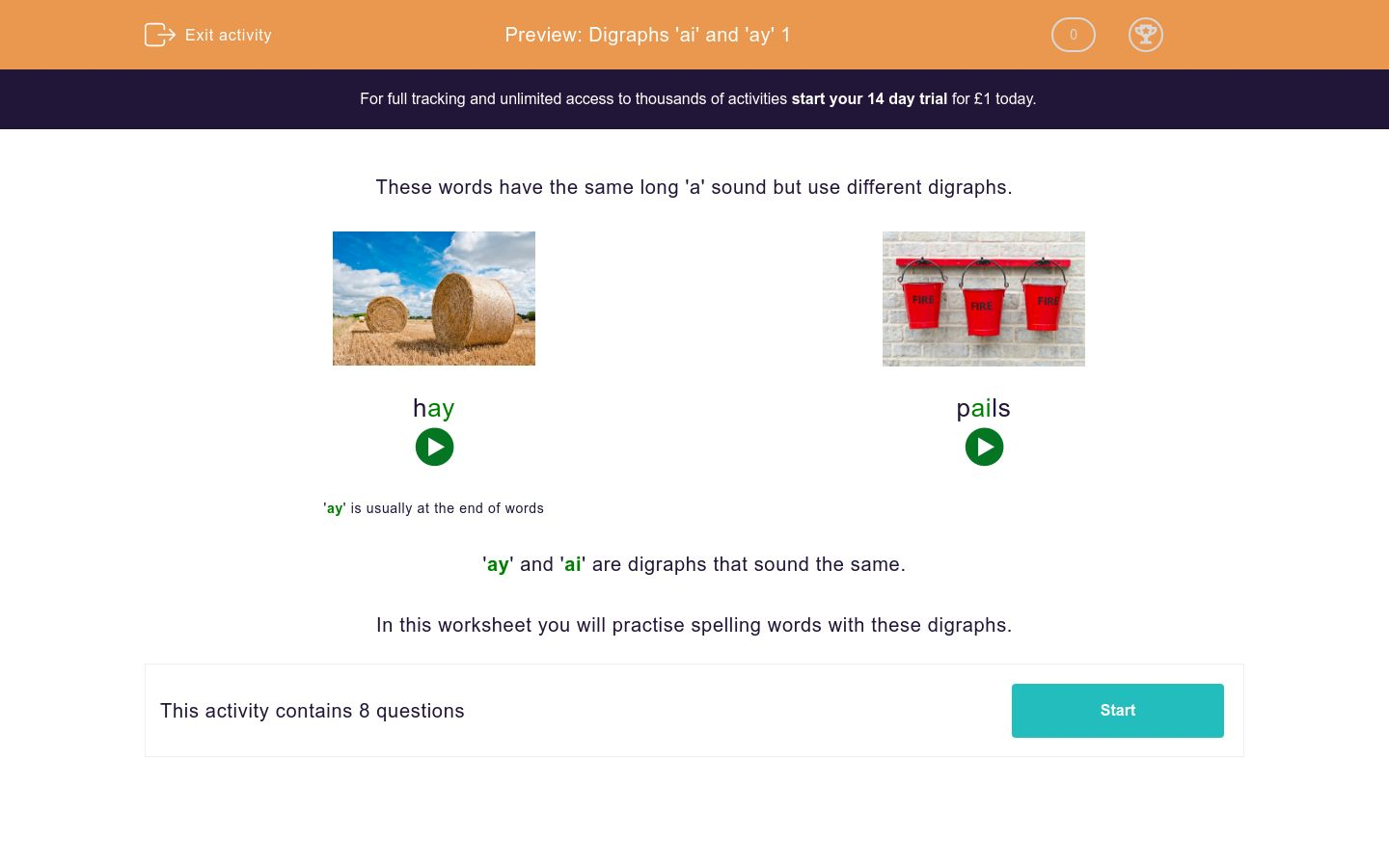 'Digraphs 'ai' and 'ay' 1' worksheet