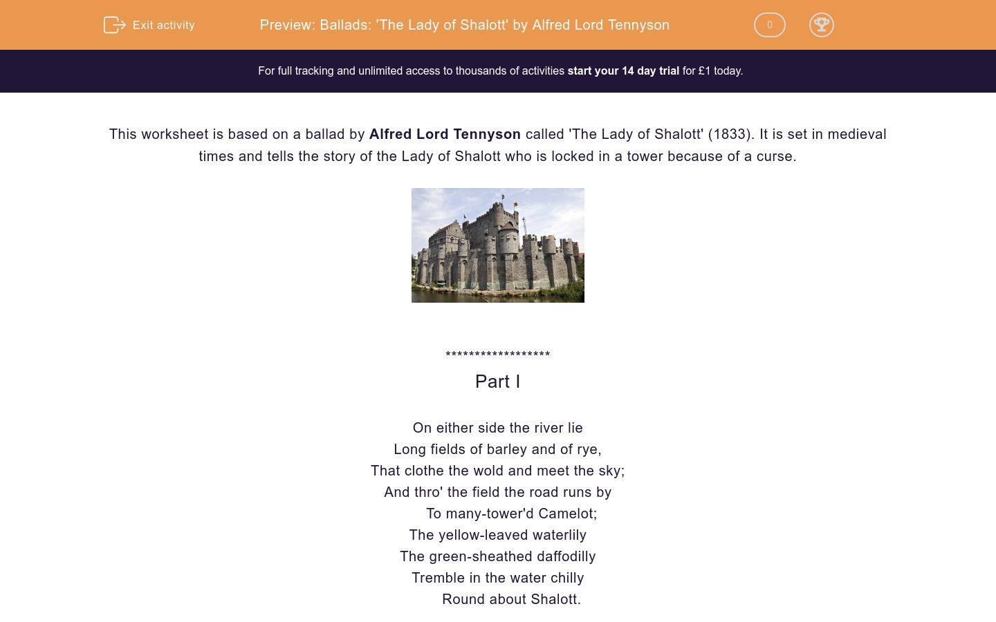 'Ballads: 'The Lady of Shalott' by Alfred Lord Tennyson' worksheet